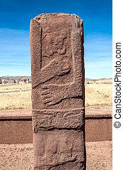 monolito, en, Tiwanaku, altiplano, Titicaca, región,...