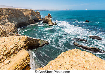 Cathedral Rock Formation, Paracas National Reserve in Peru -...