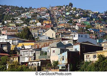 Colorful houses on a hill in Valparaiso, Chile