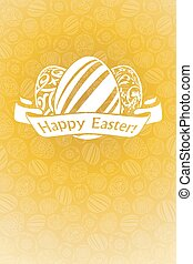 Easter Holiday Card with Eggs and Ribbon