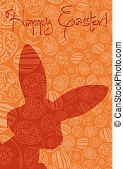 Easter Holiday Card with Eggs and Rabbit Shadow
