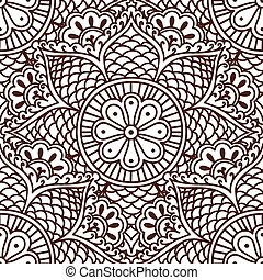 Seamless paisley pattern with flowers in the Asian style hand drawing.