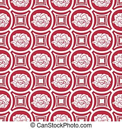 Repeating floral pattern in eastern style of painting. Light seamless ornament with flowers on a red background.