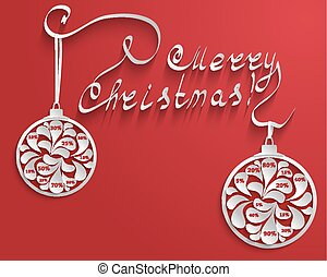 New Year or Christmas red background with an inscription and Christmas balls with numbers percent discount for sales.