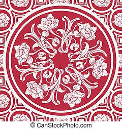 Floral seamless background with a mandala in the style of Chinese painting.