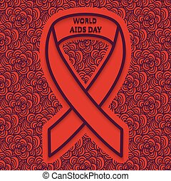 December 1 World AIDS Day red background with a dark pattern...