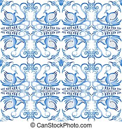 Blue seamless pattern with birds in the ethnic style of...