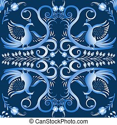 Dark blue seamless pattern with birds in the ethnic style of...