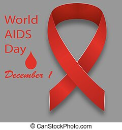 December 1 World AIDS Day red satin ribbon on a gray...