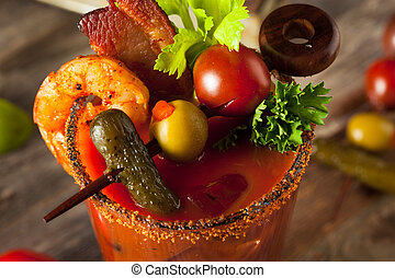Homemade Bacon Spicy Vodka Bloody Mary with Tomatos, Olive...