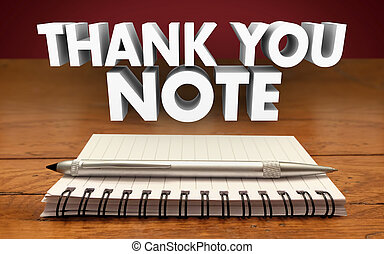 Thank You Notes Write Notepad Pen Appreciation Communicate