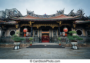 Exterior of the Longshan Temple, in Taipei, Taiwan. -...