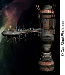 Space station - 3D rendered space station on the universe