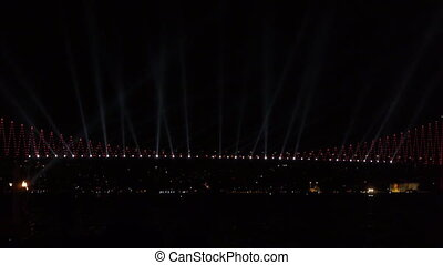 Decorated bridge. - Bridge is decorated with colorful lights...