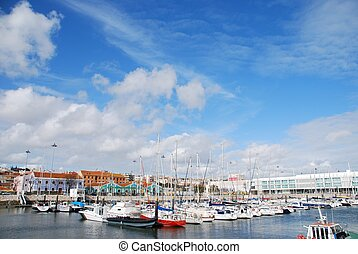 Lisbons docks - beautiful boats at the docks in Lisbon,...