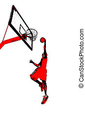 Basketball Slam Dunk - Abstract illustration of a man slam...