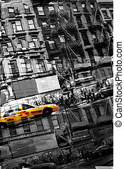 Abstract NYC Taxi - Abstract montage of city life with a...