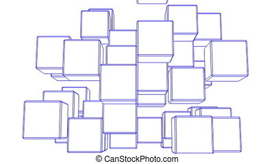 Blue Wire Frame Cube Abstract On White Background. Abstract...