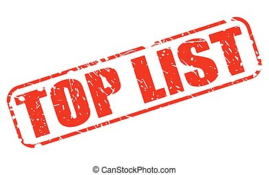TOP LIST red stamp text on white