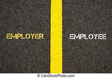 Antonym concept of EMPLOYER versus EMPLOYEE written over...