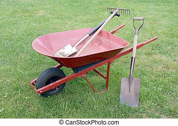 Wheelbarrow and Gardening tools