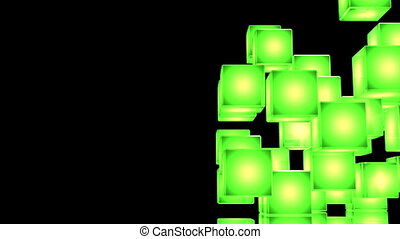 Green Shining Cube Abstract - Loop Able Green Shining Cube...