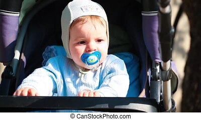 beautiful little boy in a stroller with a pacifier in nature