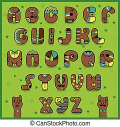 Chocolate Alphabet. Funny brown letters with bright yellow...