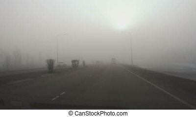 Thick fog on the highway - ASTANA, KAZAKHSTAN - March 15,...