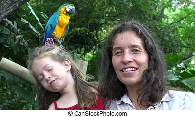 Mom And Daughter At Zoo