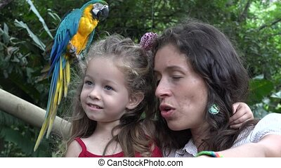 Mother And Daughter At Zoo