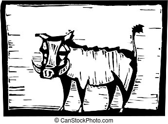 African Warthog in woodcut style in border