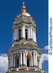 Kiev-Pechersk Lavra monastery, Ukraine - Gilded dome with a...