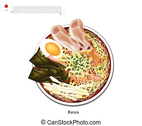 Ramen or Japanese Style Noodle Soup with Sliced Pork -...