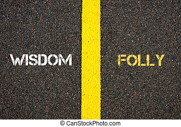 Antonym concept of WISDOM versus FOLLY written over tarmac,...