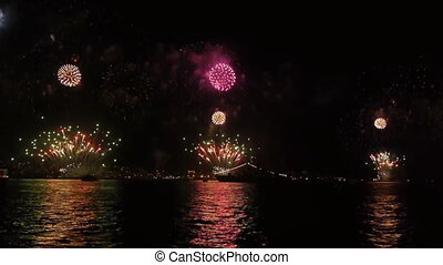 Firework over sea.