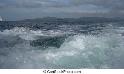 Boat walk View of waves and sailing yacht afar - Boat walk...