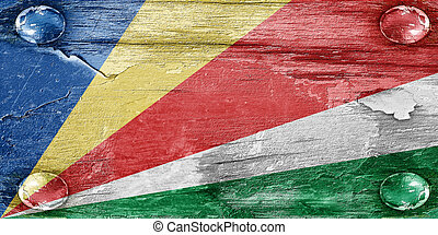 seychelles flag with some soft highlights and folds