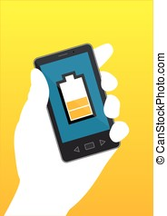 A hand holds a mobile phone with medium electrical charge