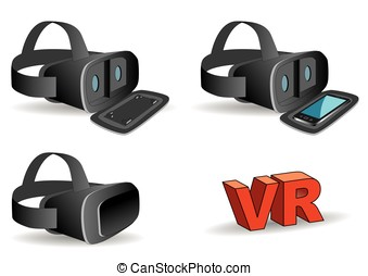 virtual reality headset in black - VR headset in black...
