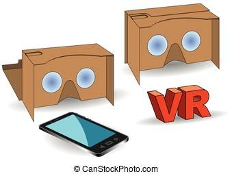 virtual reality cardboard glasses with mobile phone