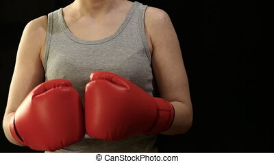 Girl in boxing gloves