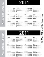 Simple 2011 Calendar - Simple Calendar for 2011 Both...