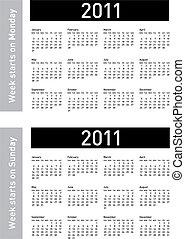 Simple 2011 Calendar - Simple Calendar for 2011. Both...