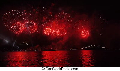 Firework over sea. - Firework over sea at night. Celebrating...