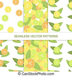 Set of seamless citrus pattern. Lemon pattern. Lime pattern. Orange pattern. Vector illustration