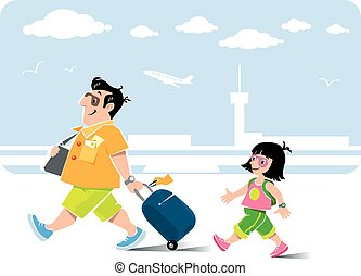 Air passengers: man and daughter - Vector illustration of...