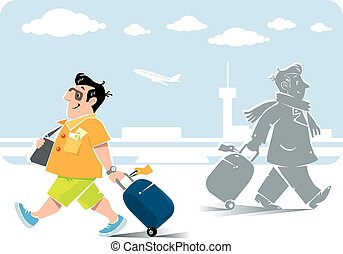 Funny air passengers with suitcases - Vector illustration of...