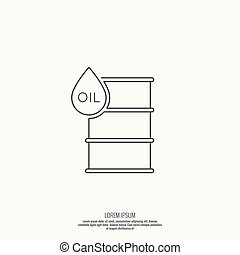 Icon petroleum barrels of oil drop Line art