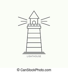 Abstract background with luminous lighthouse Flat design...